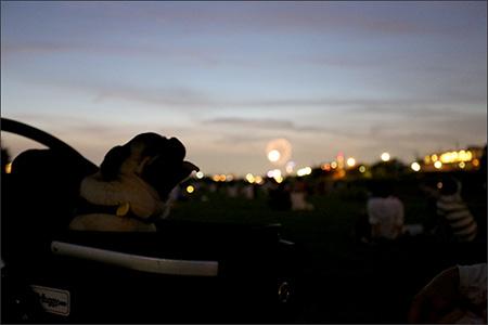 夕闇の多摩川河川敷。正面、遠くに見えるのが花火です。