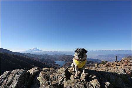 富士山の手前に写っているのは大菩薩湖